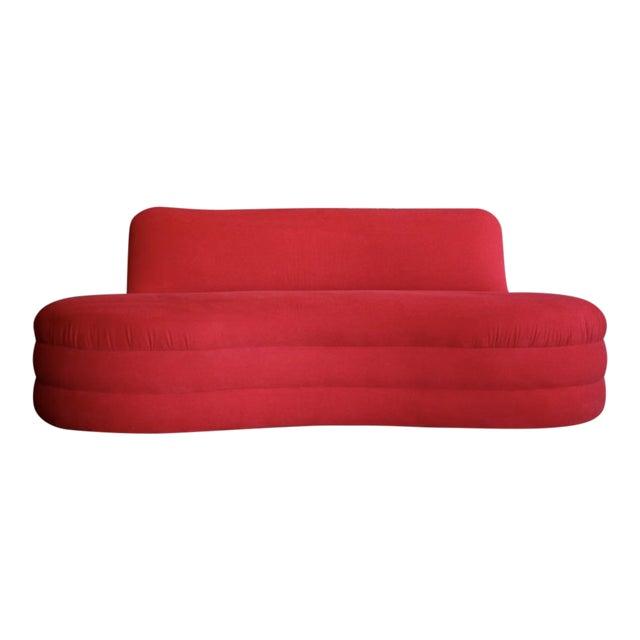 Vladimir Kagan Style Red Sofa For Sale