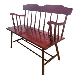 Antique Wood Bench in Deep Red, Burgandy For Sale