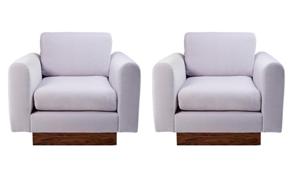Harvey Probber Lavender Velvet Club Chairs   Pair