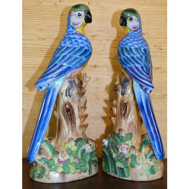 Vintage Chinese Blue Majolica Parrot Figurines - a Pair For Sale - Image 4 of 15