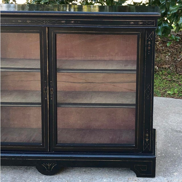 Wood 19th Century French Napoleon III Period Ebonized Barrister's Bookcase For Sale - Image 7 of 12