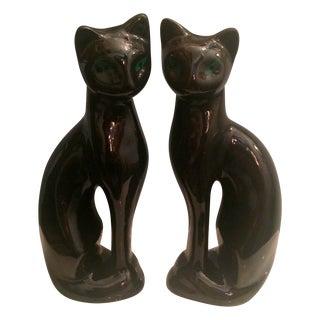 Mid-Century Black Siamese Cat Statuettes - A Pair For Sale