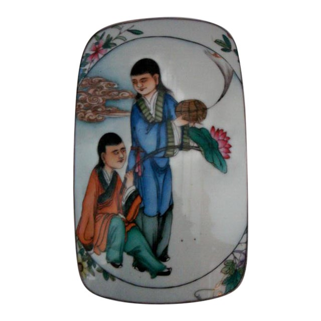 18th Century Large Chinese Shard Porcelain Silver Plate Box, Top Lid Opens For Sale