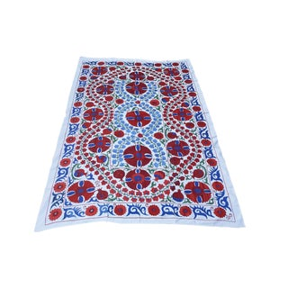 Boho Chic Blue and Red Bohemian Tapestry / Handmade Floral Bedspread For Sale