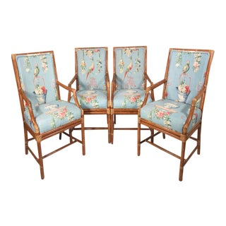 McGuire Bamboo Rattan Dining Armchairs - Set of 4 For Sale
