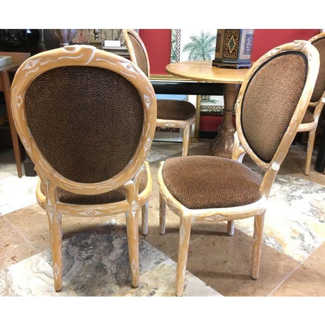 Boho Chic Faux Bois Brown Velvet Side Chairs - Set of 4 For Sale - Image 10 of 12