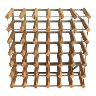 Modernist Architectural Wood Wine Rack For Sale