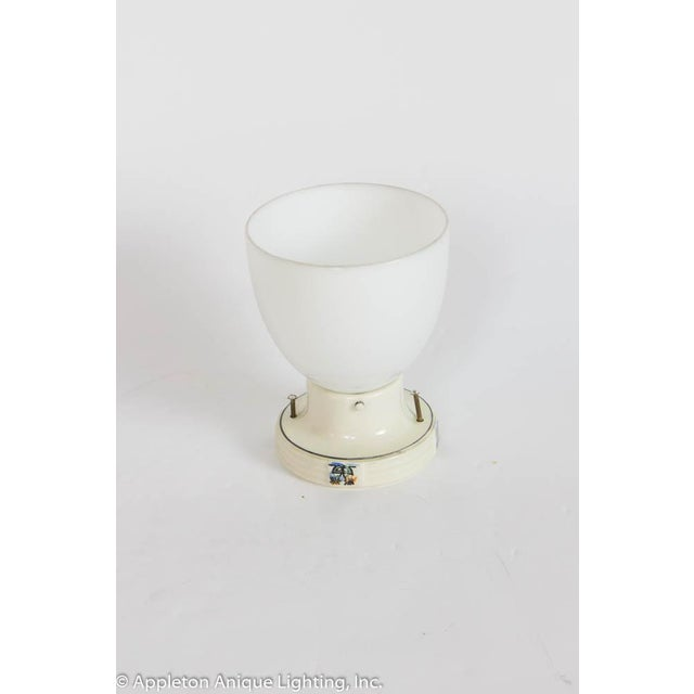 Restored Porcelain Flush Mount Fixture With Milk Glass For Sale In Boston - Image 6 of 6