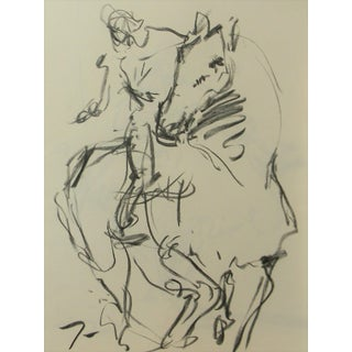 Modern Jose Trujillo Abstract Signed Original Charcoal Drawing, Horseman Horse For Sale