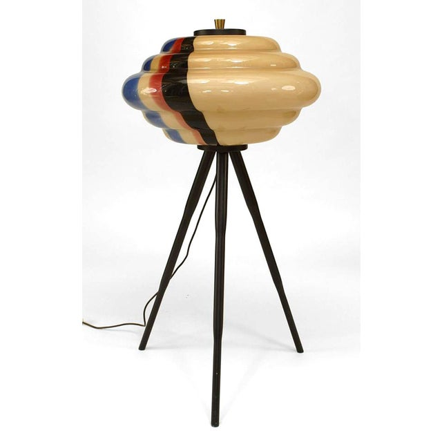 Mid-Century Modern 1960s Italian Low Multicolored Murano Glass Floor Lamp For Sale - Image 3 of 3