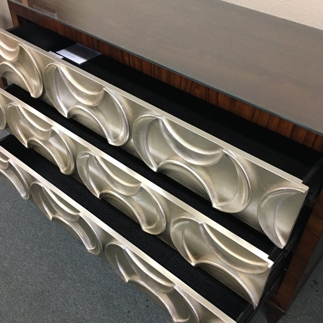 Ornamental & Decorative Materials Caracole Rosewood & Silver Tie One On Three Drawer Chest For Sale - Image 7 of 11