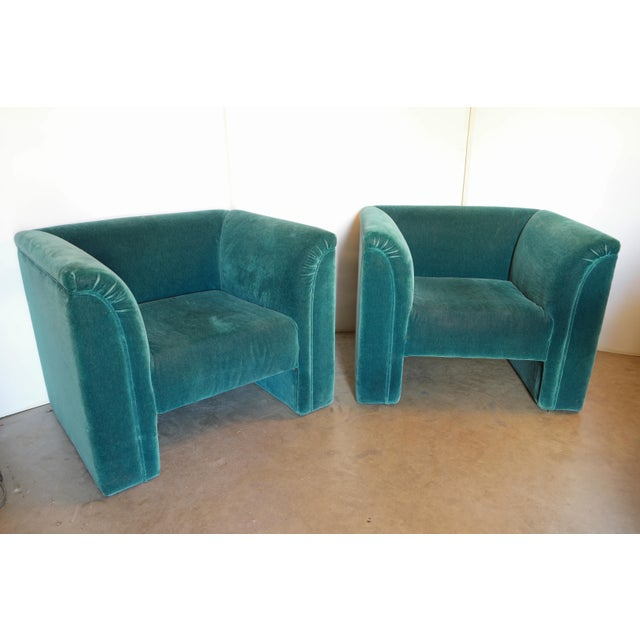 Vintage Blue- Green Mohair Club Chairs - a Pair For Sale - Image 12 of 12