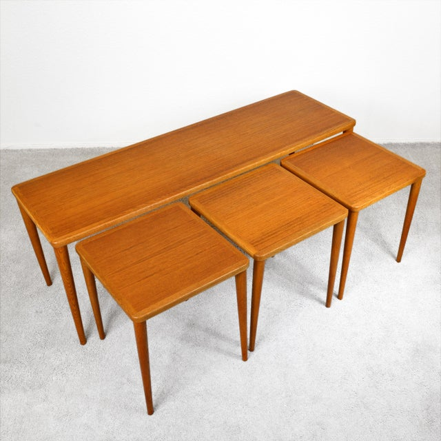 Dux of Sweden 1960s Teak Coffee Table With Three Nesting Tables - 4 Pieces For Sale In Las Vegas - Image 6 of 13