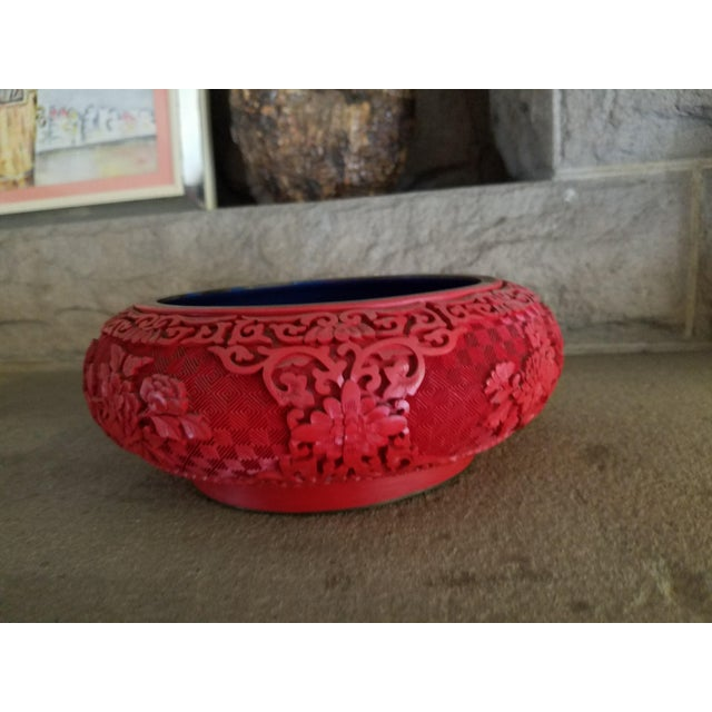 Chinese Hand Carved Cinnabar Red Bowl For Sale - Image 4 of 7