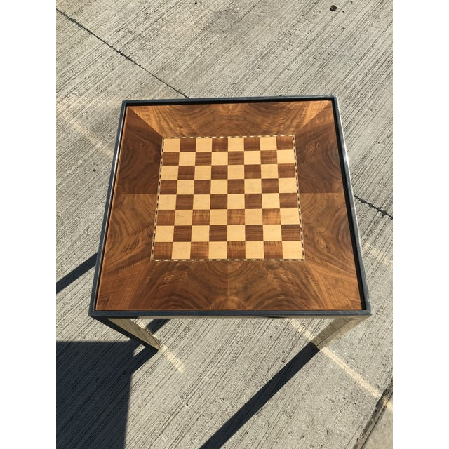 1970s Hollywod Regency Brass and Burl Wood Backgammon Chess Game Table For Sale - Image 5 of 13