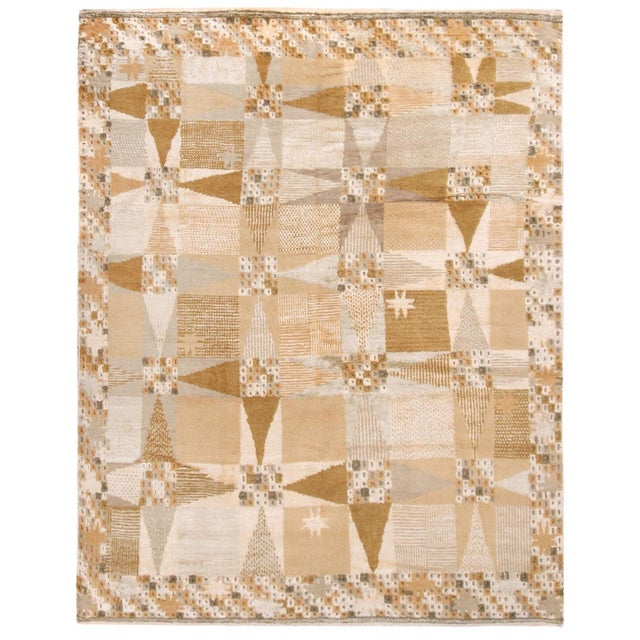 Rug & Kilim's Scandinavian-Inspired Geometric Beige Cream Wool Pile Rug For Sale In New York - Image 6 of 6