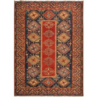 Super Kazak Garish Janetta Red/Blue Wool Rug - 6'0 X 7'10