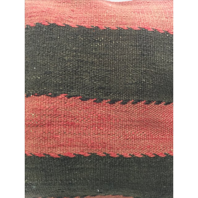 Red and Black Handmade Kilim Pillow Cover - Image 3 of 4