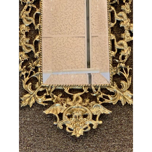 Pair of Napoleon III Brass Neptune Motif Mirrors For Sale - Image 9 of 10