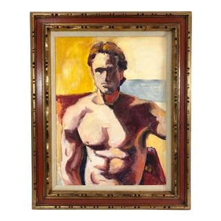 1970s Framed Handsome Shirtless Man Portrait Painting on Canvas For Sale