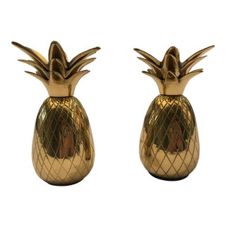 Hollywood Regency Style Brass Pineapple Candleholders - a Pair For Sale
