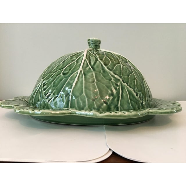 Late 20th Century Large - Majolica Cabbage Leaf Food Dome & Platter-Made in Portugal For Sale - Image 5 of 13