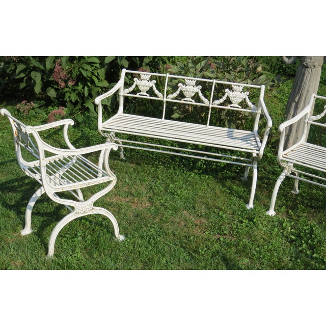 American Classical 1900s Karl Friedrich Schinkel Style Neoclassical Cast Iron Patio Suite - 4 Pc. Set For Sale - Image 3 of 13