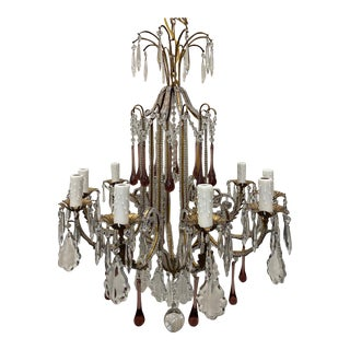 Italian Crystal Chandelier With Amethyst Accents - 19th C For Sale