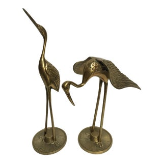 Brass Wading Shore Birds - A Pair