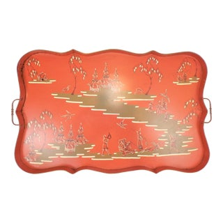 Vintage Large Mottahedeh Italian Chinoiserie Tole Tray For Sale