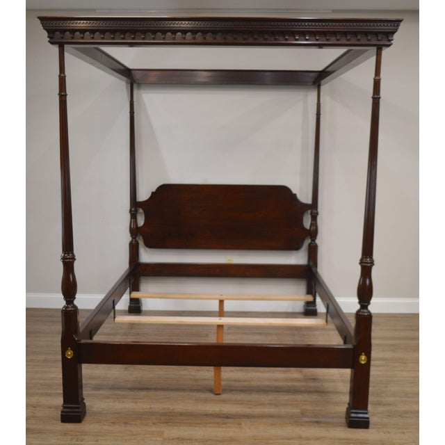 Chippendale Stickley Solid Mahogany Queen Size Carved Canopy Poster Bed For Sale - Image 3 of 13