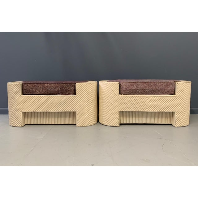 Mid-Century Modern Mid-Century Split Reed Bamboo Upholstered Benches- A Pair For Sale - Image 3 of 10
