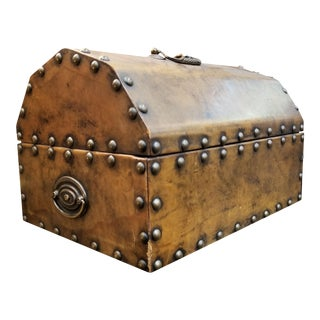 Early 20th Century Leather Studded Box For Sale