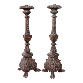 19th Century Italian Altar Stick Lamps - Pair For Sale