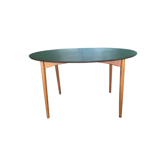 Mid Century Modern Oval Table With Leaf - Image 1 of 11