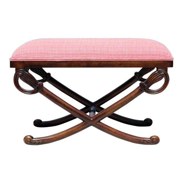 Carved Wood Sword Leg Bench With Pink Upholstery For Sale