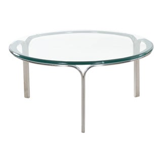 Vintage Bauhaus Steel and Glass Coffee Table by Nicos Zographos Circa 1960 For Sale
