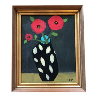 "Contemporary Folk Artist Rose Walton ""3Poppies"" Painting For Sale"