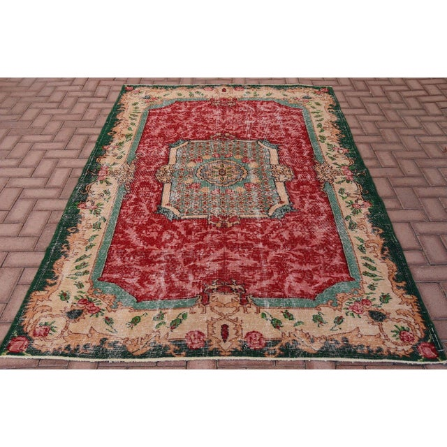 Distressed Turkish Handmade Area Rug - 5′2″ × 8′3″ - Image 2 of 6