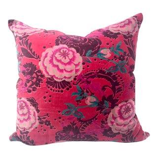 Floral Cotton Velvet Throw Pillow