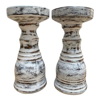 Rustic Farmhouse Distressed Candleholders, Set of Two For Sale