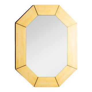 Octagonal Mirror With Tessellated Stone Mosaic Decoration and Brass Details, American, Circa 1975 For Sale