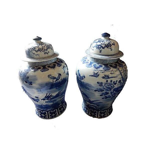 Blue & White Lidded Ginger jars, Pair - Image 3 of 6