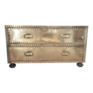 1970s Sarreid Ltd. Brass Low Boy Chest For Sale
