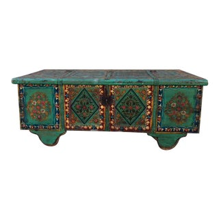 Reclaimed Hand-Painted Wood Trunk Coffee Table