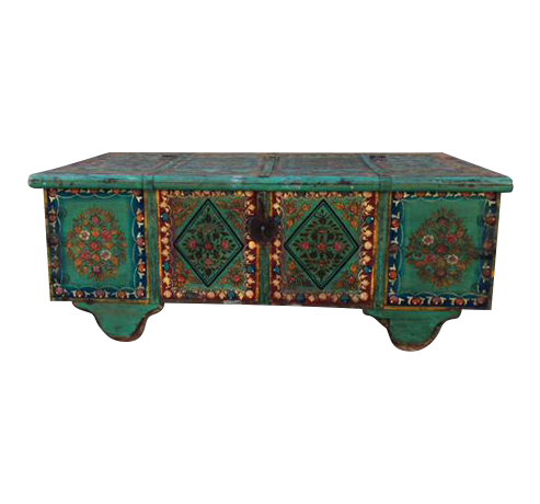Reclaimed Hand Painted Wood Trunk Coffee Table