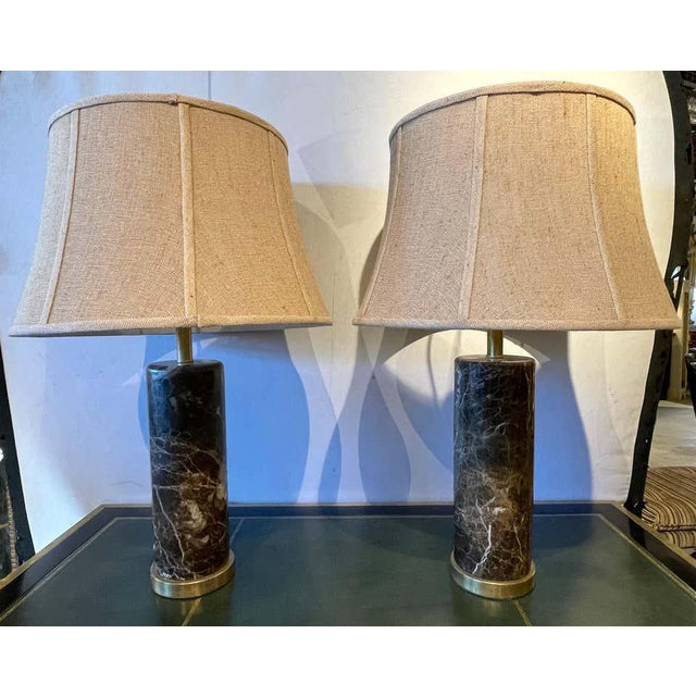 Mid-Century Modern Deco Pair of Brass Base Marble Cylindrical Form Table Lamps With Finials For Sale - Image 3 of 13