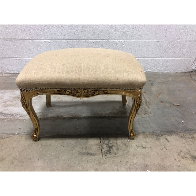 Early 20th Century Vintage Ornate Louis XV Giltwood Curved Top Ottoman For Sale - Image 5 of 5