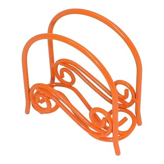 Orange Napkin Holder/File Organizer For Sale
