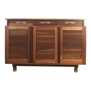1950s Mid Century Modern Solid Cherry Credenza With Louvered Doors For Sale